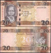 Южный Судан 20 фунтов 2016 пресс UNC