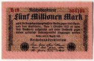 Германия (Reichsbank) 5000000 ( 5 миллионов) марок, 1923 год UNC .ОТЛИЧНАЯ ЦЕНА