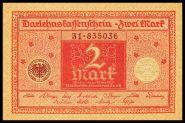 Германия 2 марки 1920 UNC пресс КРАСНАЯ . ОТЛИЧНАЯ ЦЕНА