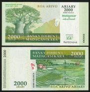 Мадагаскар 2000 ариари 2007 UNC ПРЕСС ИЗ ПАЧКИ   ПАМЯТНАЯ (Надпечатка)
