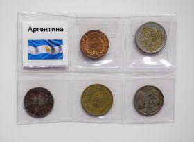 НАБОР МОНЕТ - АРГЕНТИНА, 5 шт + упаковка