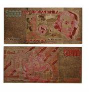 50000 Лир Италия Позолоченная купюра Цветная Банкнота под золото (Бона) Отличное качество!