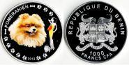Монета Бенин 1000 франков 2012 Померанцевый шпиц СЕРЕБРО