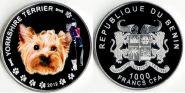 Монета Бенин 1000 франков 2012 Йоркширский терьер СЕРЕБРО