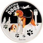 """1 доллар 2011 Тувалу """"Служебные собаки. Бигль""""  СЕРЕБРО"""