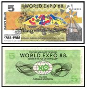 Австралия 5 долларов 1988 г. WORLD EXPO. UNC. оригинал!