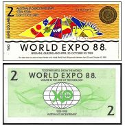 Австралия 2 доллара 1988 г. WORLD EXPO. UNC. оригинал!