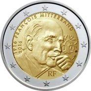 Франция 2 евро 2016 Франсуа Миттеран UNC